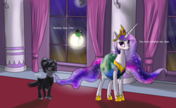 Size: 2000x1222 | Tagged: alicorn, anonicorn, bird, catasterism, clothes, costume, earth, floating, momlestia, nightmare night, oc, oc:anon, orbit, pony, princess celestia, pun, raven, raven (bird), safe, sun, too cute, visual pun