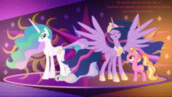 Size: 5120x2880   Tagged: safe, artist:90sigma, artist:decprincess, artist:illumnious, artist:laszlvfx, edit, luster dawn, princess celestia, twilight sparkle, alicorn, pony, unicorn, the last problem, female, mare, missing accessory, princess twilight 2.0, trio, twilight sparkle (alicorn), wallpaper, wallpaper edit