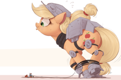 Size: 2000x1330 | Tagged: safe, artist:ncmares, applejack, rainbow dash, earth pony, pegasus, pony, armor, at-at, bag, candy, clothes, costume, crossover, cute, dashabetes, didn't think this through, eyes closed, female, food, frown, giant pony, gritted teeth, halloween, halloween costume, helmet, jackabetes, looking back, macro, mare, mouth hold, ncmares is trying to murder us, nightmare night, nose wrinkle, oh crap, open mouth, parody, pumpkin, raised leg, redux, simple background, smiling, snowspeeder, star wars, the empire strikes back, this will end in death, this will end in pain, this will end in tears, this will end in tears and/or death, tied up, white background, wide eyes