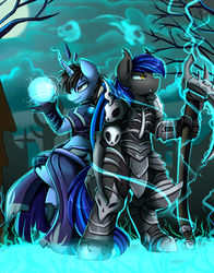 Size: 2308x2947 | Tagged: anthro, armor, artist:pridark, bat pony, bat pony oc, clothes, cloud, electricity, full moon, high res, magic ball, male, moon, night, oc, oc only, oc:tinker doo, safe, scenery, stallion, unguligrade anthro, unicorn, weapon