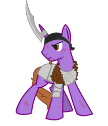 Size: 1280x1493 | Tagged: safe, artist:kalaverapastillera, oc, oc only, oc:ancient writing, pony, unicorn, cut, horn blade, male, solo, stallion, weapon