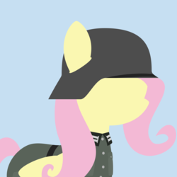 Size: 1000x1000 | Tagged: artist:facelesssoles, best pony, blue background, clothes, female, fluttershy, germany, lineless, mare, military, minimalist, modern art, parody, pegasus, pony, profile picture, safe, simple background, solo, stahlhelm, uniform, wehrmacht, wings, world war ii