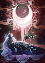 Size: 1068x1511 | Tagged: safe, artist:begasus, nightmare moon, queen chrysalis, alicorn, changeling, changeling queen, pony, crescent moon, duo, female, mare, moon, sideways crescent moon