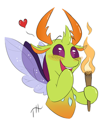 Size: 2249x2664 | Tagged: safe, artist:fakskis, thorax, changedling, changeling, 30 minute art challenge, behaving like a moth, blushing, bugs doing bug things, cute, excited, fire, happy, heart, high res, king thorax, male, signature, simple background, solo, this will end in pain, this will end in tears, thorabetes, torch, white background