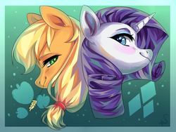 Size: 1600x1200 | Tagged: safe, artist:shininglovelystar, applejack, rarity, earth pony, pony, unicorn, back to back, blushing, bust, cutie mark, duo, female, friendshipping, gradient background, hay stalk, mare, portrait, signature, simple background, smiling, straw in mouth