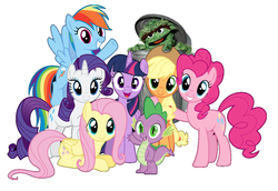 Size: 1164x800 | Tagged: alicorn, applejack, edit, fluttershy, mane seven, mane six, monster, oscar the grouch, photoshop, pinkie pie, rainbow dash, rarity, safe, simple background, spike, trash can, twilight sparkle, twilight sparkle (alicorn), white background
