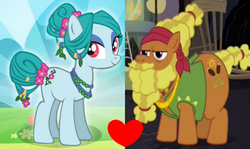 Size: 1148x686 | Tagged: safe, edit, idw, screencap, cattail, ms. vine, earth pony, a health of information, catvine, cropped, female, gameloft, heart, idw showified, male, shipping, shipping domino, straight