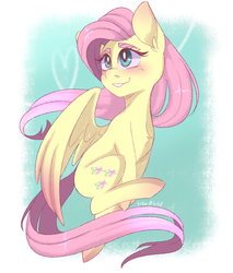 Size: 1700x2000 | Tagged: safe, artist:silbersternenlicht, fluttershy, pegasus, pony, blushing, cute, digital art, female, grin, looking away, mare, shyabetes, smiling, smooth lines, solo, spread wings, wings