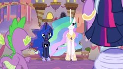 Size: 1920x1080 | Tagged: safe, screencap, princess celestia, princess luna, spike, twilight sparkle, alicorn, dragon, pony, the last problem, all is well, alternate hairstyle, baby, baby dragon, canterlot, canterlot castle, claws, ethereal mane, faceless male, female, flapping, flowing mane, flying, folded wings, hoof shoes, male, mare, offscreen character, open mouth, proud, retirement, royal sisters, second coronation dress, siblings, sisters, smiling, twilight sparkle (alicorn), winged spike, wings