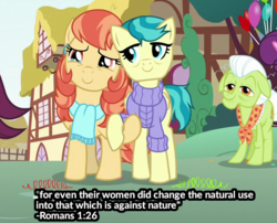 Size: 554x448 | Tagged: safe, edit, edited screencap, screencap, aunt holiday, auntie lofty, granny smith, earth pony, pegasus, pony, the last crusade, bible verse, caption, clothes, cropped, discussion in the comments, female, homophobia, image macro, mare, op is a duck, op is trying to start shit, religion, scarf, shitposting, sweater, text