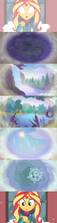 Size: 1600x6284 | Tagged: cattails, clothes, cloud, comic, condensation, edit, edited screencap, equestria girls, equestria girls series, evaporation, forest, glowing eyes, holidays unwrapped, jacket, lake, pine tree, precipitation, rain, raincloud, safe, screencap, screencap comic, snow, snowflake, solo, spoiler:eqg series (season 2), sunset shimmer, tire swing, tree, vision, waterfall, window, winter outfit