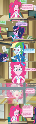 Size: 1596x5390 | Tagged: bow, bowtie, canvas, clothes, comic, dialogue, edit, edited screencap, equestria girls, equestria girls series, food, geode of telekinesis, glasses, hair bow, headband, holidays unwrapped, hoodie, jacket, magical geodes, mashed potatoes, pen, pinkie pie, ponytail, potato, rainbow dash, reflection, safe, scarf, sci-twi, screencap, screencap comic, snow, spoiler:eqg series (season 2), twilight sparkle, window, writing