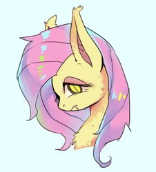 Size: 1138x1259   Tagged: safe, artist:hosikawa, fluttershy, bat pony, pony, bat ponified, bust, chest fluff, fangs, female, flutterbat, looking at you, mare, portrait, race swap, simple background, slit pupils, solo, three quarter view, white background