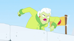 Size: 1600x900 | Tagged: safe, screencap, granny smith, equestria girls, equestria girls series, holidays unwrapped, spoiler:eqg series (season 2), apple, clothes, coat, flag, food, saving pinkie's pie, wall, winter, yelling