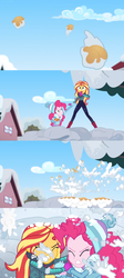 Size: 1598x3556 | Tagged: safe, edit, edited screencap, screencap, pinkie pie, sunset shimmer, equestria girls, equestria girls series, holidays unwrapped, spoiler:eqg series (season 2), apple juice, attack, comic, holding hands, house, hug, incoming, juice, rescue, screencap comic, sky, snow, snowball, snowball fight, splash, taking cover, winter