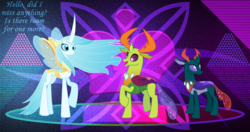 Size: 4096x2160 | Tagged: a better ending for chrysalis, artist:dashiesparkle, artist:hendro107, artist:laszlvfx, artist:orin331, changedling, changedling brothers, changeling, changeling queen, dialogue, edit, female, king thorax, male, open mouth, pharynx, prince pharynx, purified chrysalis, queen chrysalis, reformed, safe, thorax, wallpaper, wallpaper edit