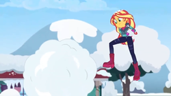 Size: 1600x900 | Tagged: safe, screencap, sunset shimmer, equestria girls, equestria girls series, holidays unwrapped, spoiler:eqg series (season 2), boots, clothes, coat, dodge, gloves, jacket, jumping, shoes, snow, snowball, snowball fight, tree, winter