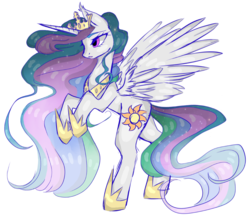 Size: 1076x932 | Tagged: alicorn, artist:clefficia, artist:hunterthewastelander, collaboration, crown, female, hoof shoes, jewelry, mare, peytral, pony, princess celestia, rearing, regalia, safe, solo