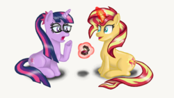 Size: 960x540 | Tagged: artist:pabrony83, cute, engagement ring, equestria girls, equestria girls ponified, fanfic art, female, glasses, happy, lesbian, marriage proposal, ponified, pony, ponytail, safe, sci-twi, scitwishimmer, shimmerbetes, shipping, smiling, sunset shimmer, sunsetsparkle, surprised, twiabetes, twilight sparkle, unicorn, unicorn sci-twi
