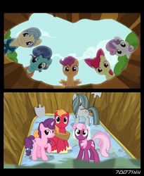 Size: 640x781 | Tagged: safe, edit, edited screencap, editor:teren rogriss, screencap, apple bloom, big macintosh, cheerilee, marble pie, mr. paleo, mrs. paleo, scootaloo, sugar belle, sweetie belle, earth pony, pegasus, pony, unicorn, hearts and hooves day (episode), the fault in our cutie marks, big macintosh gets all the mares, cutie mark crusaders, fanfic idea, petunia's parents, straight, the sex pit, wedding veil