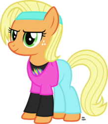 Size: 1059x1208 | Tagged: safe, artist:anime-equestria, applejack, earth pony, pony, 80s, alternate hairstyle, clothes, female, freckles, hairband, long sleeve shirt, loose hair, shirt, short hair, simple background, smiling, solo, transparent background, vector, workout outfit