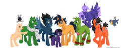 Size: 5000x2000 | Tagged: alicorn, anime, artist:sanoo32, dragon ball z, earth pony, goku, pegasus, piccolo (dbz), ponified, pony, safe, son gohan, vegeta