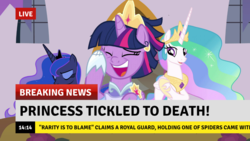 Size: 1382x777 | Tagged: alicorn, breaking news, edit, edited screencap, implied rarity, laughing, news, princess celestia, princess luna, safe, screencap, second coronation dress, spider, spoiler:s09e26, star spider, the last problem, tickling, twilight sparkle, twilight sparkle (alicorn)