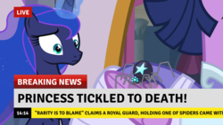 Size: 1382x777 | Tagged: alicorn, breaking news, implied rarity, princess luna, safe, screencap, second coronation dress, spider, spoiler:s09e26, star spider, the last problem, tickling, twilight sparkle, twilight sparkle (alicorn)