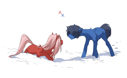 Size: 1280x788 | Tagged: safe, artist:hellaoggi, pony, anime, darling in the franxx, ponified