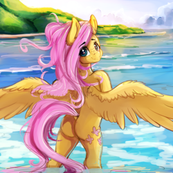 Size: 4000x4000 | Tagged: artist:miokomata, beach, bipedal, butt, dock, eye clipping through hair, female, flutterbutt, fluttershy, freckles, looking at you, looking back, looking back at you, mare, outdoors, pegasus, plot, safe, semi-anthro, skinny dipping, smiling, solo, spread wings, water, wings