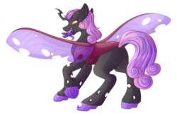 Size: 4760x3126 | Tagged: safe, artist:amazing-artsong, oc, oc:heart's desire, changeling, male, purple changeling, simple background, solo, transparent background