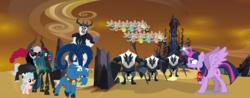 Size: 2500x982 | Tagged: safe, artist:andoanimalia, artist:decprincess, artist:digimonlover101, artist:jawsandgumballfan24, artist:silentmatten, artist:vector-brony, cozy glow, grogar, lord tirek, queen chrysalis, storm king, twilight sparkle, alicorn, changeling, parasprite, pegasus, pony, sheep, my little pony: the movie, angry, avengers: endgame, crystal empire, endgame, female, filly, foal, infinity gauntlet, legion of doom, male, mare, movie reference, nano gauntlet, ram, sacrifice, storm guard, twilight sparkle (alicorn), vectors used, villains of equestria