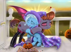Size: 6300x4550 | Tagged: safe, artist:darksly, trixie, oc, bat pony, pony, unicorn, bat pony oc, candy, cape, clothes, crying, cute, diatrixes, digital art, female, filly, filly trixie, food, halloween, hat, holiday, hug, jack-o-lantern, pumpkin, tears of joy, trixie's cape, trixie's hat, younger