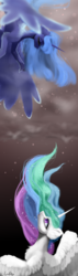 Size: 2000x7000 | Tagged: safe, artist:livitoza, princess celestia, princess luna, alicorn, pony, crying, digital art, eyes closed, female, looking at each other, looking down, looking up, mare, royal sisters, siblings, sisters