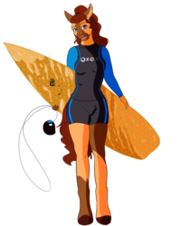Size: 2000x2500 | Tagged: safe, artist:coffeevixxen, oc, oc only, oc:honeypot, anthro, earth pony, unguligrade anthro, beauty mark, commission, female, mare, simple background, smiling, solo, surfboard, transparent background, wetsuit