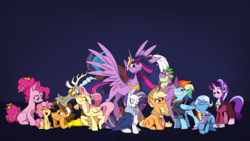 Size: 7680x4320 | Tagged: safe, artist:piemations, artist:piemationsart, applejack, cheese sandwich, discord, fluttershy, li'l cheese, pinkie pie, rainbow dash, rarity, spike, starlight glimmer, trixie, twilight sparkle, alicorn, draconequus, dragon, earth pony, pegasus, pony, unicorn, the last problem, spoiler:s09e26, absurd resolution, cheesepie, clothes, council of friendship, end of ponies, female, filly, high res, male, mane seven, mane six, mare, older, older applejack, older cheese sandwich, older fluttershy, older mane 6, older mane 7, older pinkie pie, older rainbow dash, older rarity, older spike, older starlight glimmer, older trixie, older twilight, princess twilight 2.0, shipping, skirt, stallion, straight, suit, twilight sparkle (alicorn), winged spike