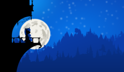 Size: 4210x2460   Tagged: safe, artist:simonk0, princess luna, alicorn, pony, balcony, female, forest, high res, moon, night, silhouette, sitting, solo, starry night