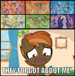 Size: 1134x1154 | Tagged: safe, artist:jan, edit, edited screencap, screencap, aloe, angel bunny, apple bloom, autumn blaze, babs seed, berry punch, berryshine, big macintosh, bon bon, bow hothoof, braeburn, bright mac, burnt oak, button mash, capper dapperpaws, carrot cake, cattail, cheerilee, cheese sandwich, cherry jubilee, clear sky, cloudy quartz, coco pommel, coloratura, cranky doodle donkey, cup cake, daring do, derpy hooves, diamond tiara, discord, dj pon-3, doctor fauna, doctor muffin top, doctor whooves, double diamond, fancypants, featherweight, flam, flash magnus, flash sentry, flim, gabby, gallus, garble, gentle breeze, gilda, goldie delicious, grand pear, granny smith, igneous rock pie, iron will, limestone pie, little strongheart, lotus blossom, lyra heartstrings, marble pie, matilda, maud pie, mayor mare, meadowbrook, mistmane, moondancer, mudbriar, night glider, night light, nurse redheart, ocellus, octavia melody, opalescence, owlowiscious, pear butter, pharynx, photo finish, pipsqueak, plaid stripes, posey shy, pound cake, prince rutherford, princess cadance, princess celestia, princess ember, princess flurry heart, princess luna, pumpkin cake, quibble pants, rainbow dash, rockhoof, roseluck, rumble, saffron masala, sandbar, sassy saddles, scootaloo, shining armor, silver spoon, silverstream, smolder, snails, snips, soarin', somnambula, spitfire, starlight glimmer, stygian, sugar belle, sunburst, sunset shimmer, sweetie belle, sweetie drops, tank, thorax, thunderlane, time turner, tree hugger, trouble shoes, twilight sparkle, twilight velvet, twist, vinyl scratch, wind sprint, windy whistles, winona, yona, zecora, zephyr breeze, zippoorwhill, alicorn, bird, breezie, buffalo, changedling, changeling, dog, draconequus, griffon, minotaur, owl, pony, yak, button's adventures, the last problem, buttercup, buttonbuse, caption, crying, cutie mark crusaders, everycreature, everypony, flim flam brothers, image macro, impact font, juice, juice box, king thorax, meme, prince pharynx, rara, sad, spa twins, teary eyes, text, the magic of friendship grows, they forgot about me, twilight sparkle (alicorn), wall of tags