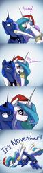 Size: 1200x4800 | Tagged: safe, artist:anticular, princess celestia, princess luna, alicorn, pony, ask sunshine and moonbeams, :p, :t, angry, christmas, comic, confused, cropped, cross-eyed, cute, cutelestia, dilated pupils, duo, eye shimmer, female, frown, german suplex, gradient background, hat, holiday, it chrismas, lidded eyes, luna is not amused, majestic as fuck, mare, nose wrinkle, open mouth, raspberry, royal sisters, santa hat, scrunchy face, shrunken pupils, sports, suplex, text, this ended in pain, tongue out, unamused, wide eyes, wrestling