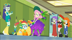 Size: 1920x1080 | Tagged: beret, blueberry cake, boots, canterlot high, cellphone, clothes, converse, cornucopia costumes, costume, drama letter, dress, embarrassed, equestria girls, equestria girls series, female, fluttershy, golden hazel, hallway, hat, high heel boots, holidays unwrapped, lockers, miniskirt, o come all ye squashful, phone, rainbow dash, safe, screencap, shoes, skirt, smartphone, smiling, spoiler:eqg series (season 2), starlight, sunglasses, watermelody