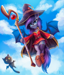 Size: 2552x3000 | Tagged: anime, artist:atlas-66, bat pony, bat pony oc, clothes, crossover, female, flying, frilly underwear, glasses, high res, konosuba, mare, megumin, oc, oc:andromeda galaktika, oc only, panties, pony, purple underwear, safe, scepter, solo, staff, underwear