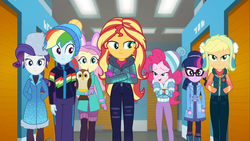 Size: 1920x1080   Tagged: safe, screencap, applejack, chad (owl), fluttershy, pinkie pie, rainbow dash, rarity, sci-twi, sunset shimmer, twilight sparkle, bird, owl, equestria girls, equestria girls series, holidays unwrapped, winter break-in, spoiler:eqg series (season 2), chocolate, clothes, earmuffs, female, fluttershy's winter hat, food, glasses, gloves, hands in pockets, hat, hot chocolate, humane five, humane seven, humane six, jacket, mittens, rarity's winter hat, self-storage facility, toque, vest, winter coat, winter hat, winter jacket, winter outfit