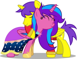 Size: 8000x6116 | Tagged: safe, artist:chrzanek97, oc, oc:melody aurora, oc:orion galaxy, alicorn, pony, alicorn oc, brother and sister, clothes, dress, female, hug, male, offspring, parent:flash sentry, parent:twilight sparkle, parents:flashlight, royalty, siblings, vector