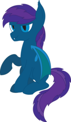 Size: 3185x5500   Tagged: safe, artist:cosmiceclipsed, derpibooru exclusive, oc, oc only, oc:stardust, oc:stardust(cosmiceclipse), bat pony, pony, 2020 community collab, derpibooru community collaboration, bat pony oc, bat wings, ear fluff, fangs, male, membranous wings, simple background, slit eyes, slit pupils, solo, stallion, transparent background, wings