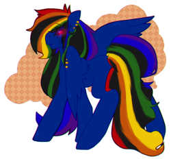 Size: 936x870 | Tagged: safe, artist:pomrawr, rainbow dash, pegasus, pony, abstract background, ear piercing, earring, female, glowing eyes, jewelry, mare, nightmare rainbow dash, nightmarified, piercing, solo