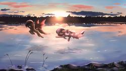 Size: 2560x1440 | Tagged: safe, artist:galinn-arts, oc, oc only, oc:sak, oc:stormdancer, bat pony, pony, backlighting, bat pony oc, cloud, couple, cute, duo, female, flying, lake, male, mare, reflection, scenery, scenery porn, signature, sky, spread wings, stallion, sunset, wings