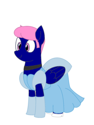 Size: 837x1108 | Tagged: safe, artist:nittany discord, oc, oc:threadwing, pegasus, pony, choker, cinderella, clothes, crossdressing, dress, evening gloves, gloves, high heels, long gloves, male, pegasus oc, shoes, smiling