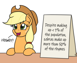 Size: 1100x900 | Tagged: applejack, applejack's sign, artist:mkogwheel, cute, dawwww, earth pony, edit, female, howdy, jackabetes, leaning, looking up, mare, meme, open mouth, parody, pony, rhyme, safe, sign, simple background, smiling, solo, table, text, weapons-grade cute, white background, zebra