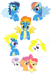 Size: 2480x3507 | Tagged: apple bloom, artist:oceanbreezebrony, clothes, cutie mark crusaders, earth pony, pegasus, pony, rainbow dash, safe, scootaloo, simple background, soarin', spitfire, sticker, surprise, sweetie belle, transparent background, unicorn, uniform, wonderbolts uniform