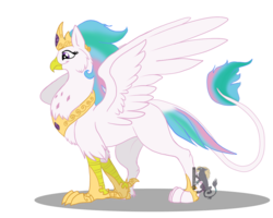 Size: 1000x800 | Tagged: artist:husgryph, crown, female, griffon, griffonized, jewelry, princess celestia, quadrupedal, regalia, safe, simple background, solo, species swap, transparent background, watermark